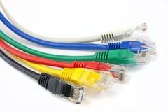 Ciérrese encima de los cables de la red de Ethernet Fotos de archivo libres de regalías
