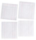 Ciérrese encima de pedazo de papel alineado aislado en blanco Imágenes de archivo libres de regalías