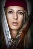 Ciérrese encima del retrato del pirata de sexo femenino Fotografía de archivo libre de regalías