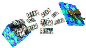Ciérrese encima del tiro de la caja de regalo por completo de billetes de dólar aislados en blanco Fotos de archivo libres de regalías