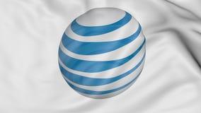 Ciérrese para arriba de bandera que agita con American Telephone y logotipo de Telegraph Company AT&T, representación 3D Fotos de archivo