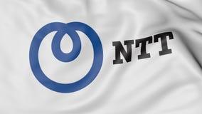 Ciérrese para arriba de bandera que agita con Nipón Telegraph y logotipo del NTT de Telephone Corporation, representación 3D Fotografía de archivo libre de regalías