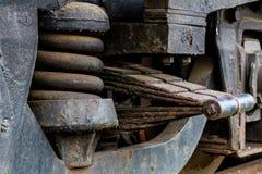 Ciérrese para arriba de la vieja suspensión de la locomotora diesel Imágenes de archivo libres de regalías
