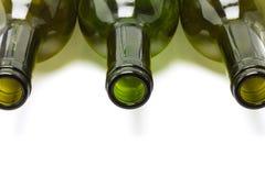 Ciérrese para arriba de las botellas de vino vacías Fotos de archivo libres de regalías