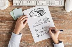 Ciérrese para arriba de las manos que solucionan tarea o que escriben la ecuación Foto de archivo