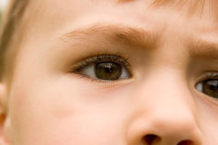 Ciérrese para arriba de ojos jovenes de los muchachos Fotografía de archivo