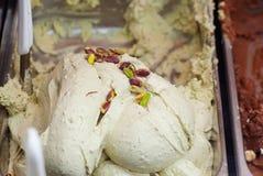 Ciérrese para arriba del helado del pistacho Imagen de archivo libre de regalías