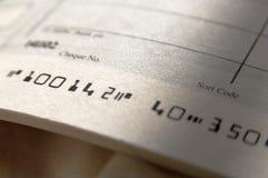 Ciérrese para arriba del libro de cheque Foto de archivo libre de regalías