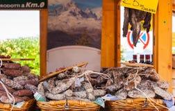 Ciérrese para arriba del salami italiano delicioso Imagen de archivo libre de regalías