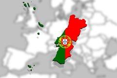 Ciérrese para arriba en el backgound de Europa del mapa de Portugal Imágenes de archivo libres de regalías