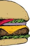 Ciérrese para arriba en el cheeseburger Foto de archivo libre de regalías