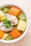 Ciérrese para arriba, sopa de pollo Imagen de archivo libre de regalías