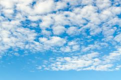 Cirro-cumulus clouds in blue sky. The white cirro-cumulus clouds in a summer blue sky, natural background royalty free stock image