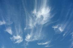 Cirrus Cloud Formations. Strange Cirrus Cloud Formations with Polarized Filter Royalty Free Stock Image