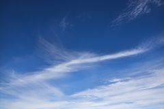 Cirrus clouds. Cirrus clouds in blue sky stock images