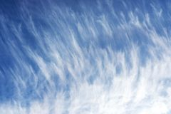 Cirrus clouds against a blue sky. royalty free stock images