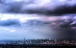 Cirrus Clouds, with Bad Storm Weather over Manhattan royalty free stock photos