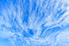 Cirrus clouds on blue sky. Cirrus clouds on a blue sky stock photography
