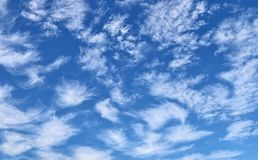 Cirrus clouds high in the blue sky royalty free stock photography