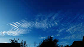 Cirrus Clouds Moving Over the Village. In the Light of a Sunset stock video