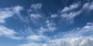 Cirrus Clouds in New Milton, UK. Cirrus Clouds above New Milton Beach England, UK royalty free stock photos
