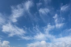 Cirrus Clouds in New Milton, UK. Cirrus Clouds above New Milton Beach England, UK royalty free stock photo