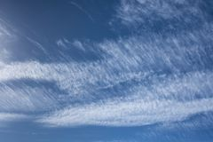 Cirrus Clouds in New Milton, UK. Cirrus Clouds above New Milton Beach England, UK stock image