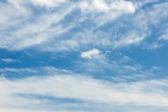 Cirrus clouds over Bavaria in the Summer afternoon stock photo