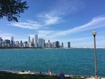 Cirrus Clouds over Chicago Skyline Royalty Free Stock Photography
