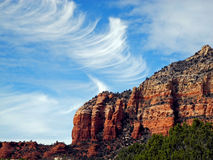 Cirrus Clouds Over the Mesa Stock Photography
