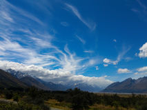 Cirrus clouds over Mt Cook, NZ. Royalty Free Stock Images