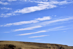 Cirrus clouds over Negev desert. Royalty Free Stock Photography