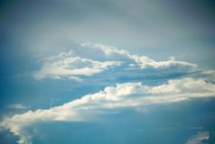 Cirrus clouds in the sky.  stock photo