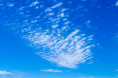 Cirrus clouds spreading on blue sky. Natural background royalty free stock photography