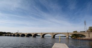 Cirrus Coulds Over The Vachel Lindsay Bridge Stock Photos