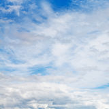 Cirrus and cumuli white clouds in blue sky. In summer day Royalty Free Stock Photography