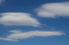 Cirrus and cumulus clouds on blue sky Stock Photos