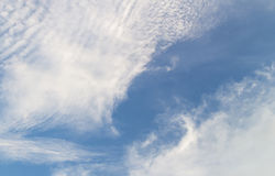 Cirrus and cumulus clouds on blue sky Royalty Free Stock Photo
