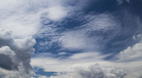 Cirrus and cumulus clouds on blue sky Royalty Free Stock Image