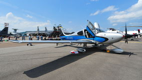 Cirrus S$22 single turboprop aircraft on display at Singapore Airshow Royalty Free Stock Images