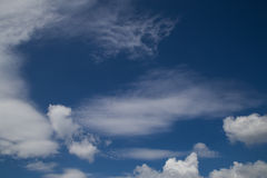Blue sky Cirrus stratus cumulus clouds. All cloud types in one picture royalty free stock photography
