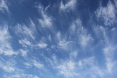 Cirrus Uncinus Clouds in Blue Sky Royalty Free Stock Image