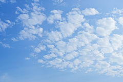 Cirrus white clouds on the blue sky. Beautiful cirrus clouds on the blue sky, copy space and natural light stock image
