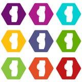 Cirugía plástica del hexahedron determinado del color del icono de las nalgas stock de ilustración