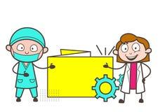 Cirujano de la historieta y ejemplo femenino del vector del doctor Showing Info Banner stock de ilustración