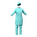 Cirujano de sexo femenino Dress con sangre aislado en el fondo blanco Fotos de archivo libres de regalías