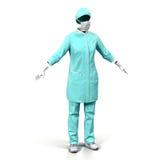 Cirujano de sexo femenino Dress en el fondo blanco Imagen de archivo libre de regalías