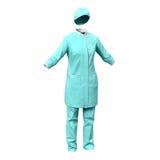 Cirujano de sexo femenino Dress en el fondo blanco Fotografía de archivo libre de regalías