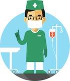 Cirujano del doctor en fondo médico Fotos de archivo libres de regalías