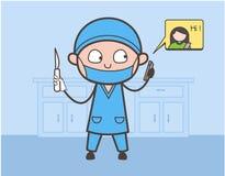 Cirujano Holding de la historieta un cuchillo y charla en el ejemplo móvil del vector ilustración del vector